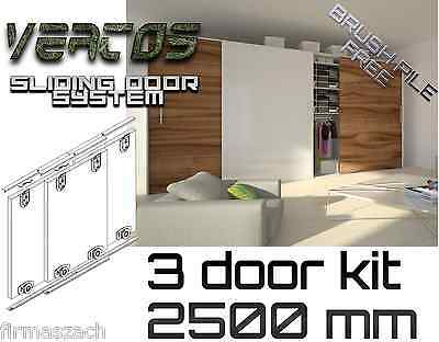 Sliding WardrobeTrack gear kit DIY set wardrobe 3 colours track 2500 mm 3 doors