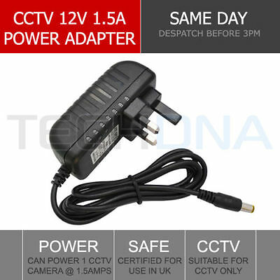 12V 1.5A 1500mA DC UK Power Supply Adapter 2.1mm Jack for IR CCTV Cameras 1.2m