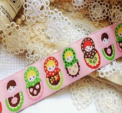 Lovely Woven Russian Doll Pink Red Green Satin Ribbon Xmas Edging Tape Trim 1M