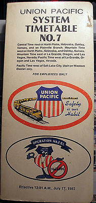 Union Pacific System Timetable No. 7-July 17, 1983-Employees Only Version