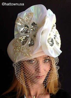NEW Women's Off-White Felt Dress Hat with Veil & Sequins Formal Church Wedding