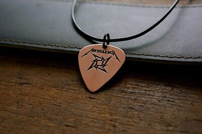 Hand Made Etched Copper Guitar Pick Necklace - Metallica with Ninja Star