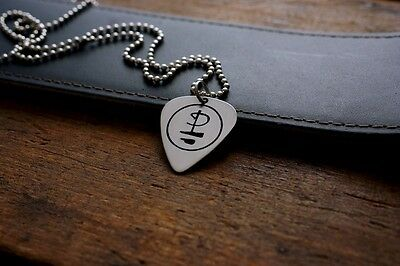 Hand Made Etched Nickel Silver Guitar Pick Necklace - Pink Floyd Symbol