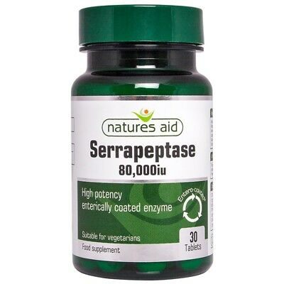Serrapeptase (High Potency) 80,000IU  30 Enteric Coated Tablets - Natures Aid