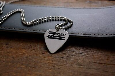 Hand Made Etched Nickel Silver Guitar Pick Necklace - ZZ Top
