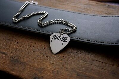 Hand Made Etched Nickel Silver Guitar Pick Necklace - Motley Crue