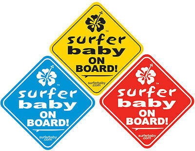 """Surfer Baby on Board"" Car/Truck Safety Vinyl Window Sticker Sign Decal"