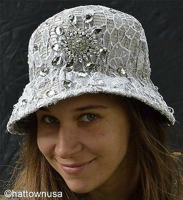 NEW Year-Round Church Dress Hat Silver Cloche Satin Lace Jewel Rhinestone Brooch