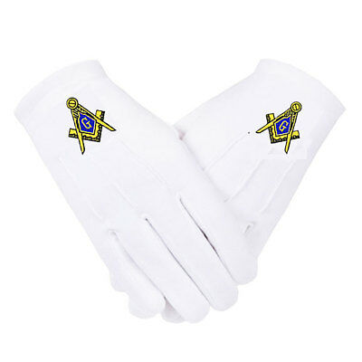 MASONIC GLOVES - EMBROIDERED on WHITE COTTON - 5 SIZES * SM...MD...LG...XL...XXL