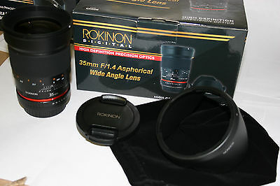 NEW Rokinon 35mm  F1.4  MULTI COATED FAST WIDE ANGLE LENS for MOST SLR DSLR