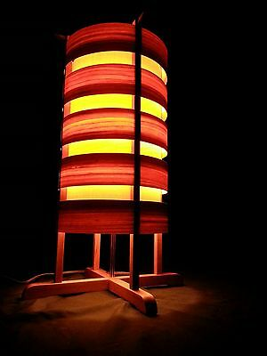 Handcrafted Wooden Panel Lamp, maple, cherry rings & mahogany brown base