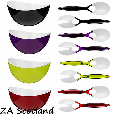 Retro Large Salad Bowl Salad Spoon And Fork Plastic Kitchen Dinning Set 4 Colour