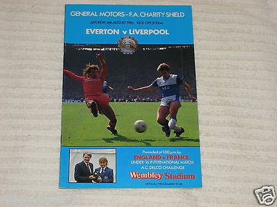 EVERTON vs LIVERPOOL  *** F.A.CHARITY SHIELD FINAL *** 1986 - USED CONDITION