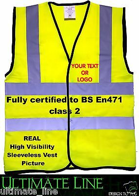 Personalised Hi Vis Safety Waistcoat High Viz Custom Printed Visibility en471