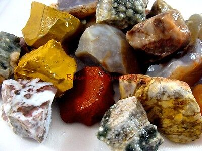 AGATE and JASPER Rough Rock Mix - 2 1/2 Pound Lot - Tumbling / Polishing Stones