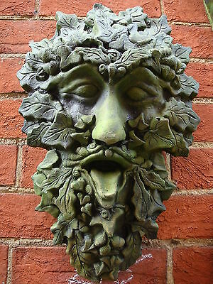 "Green man wall plaque ivy stone home or garden ornament ""Westlake"" 41cm/16""H"