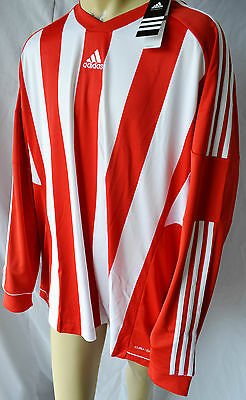 Adidas Kids (Unisex) L/S Striped Football Shirt Red (Z09856) approx 4 yrs 3XS