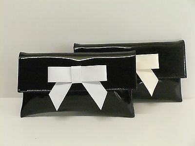 Cute Black Faux Patent Leather Clutch Bag/Shoulder Bag with White or Ivory Bow