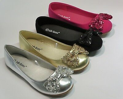 Girl Flats w/Sequined Bow (Eta) Youth Flower Girl Pageant Dress Shoes