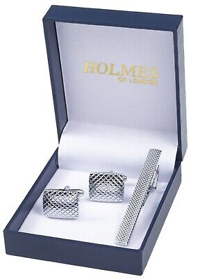 Mens Cuff Links & Tie Clip Pin Silver Shirt Party Gift Box New Uk Free P&p Cts39