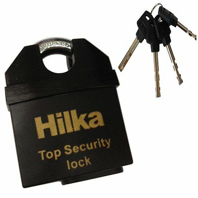 Hilka 50mm Security padlock - fits 10mm security chains - with 4 keys NEW!