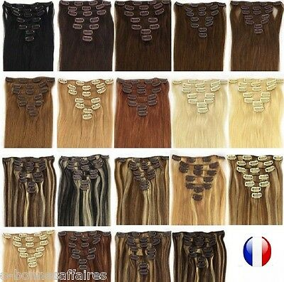 KIT EXTENSIONS A CLIPS CHEVEUX 100% NATURELS REMY HAIR 85G 125G 60CM express 48h