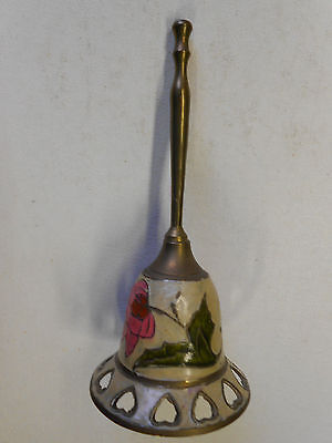 "Vintage India Brass and Enamel Bell Hearts and Flowers. Stands 7 1/2"" Tall."