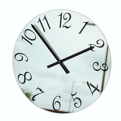 Roco Verre French Numbers Mirror Wall Clock Black in Four Sizes