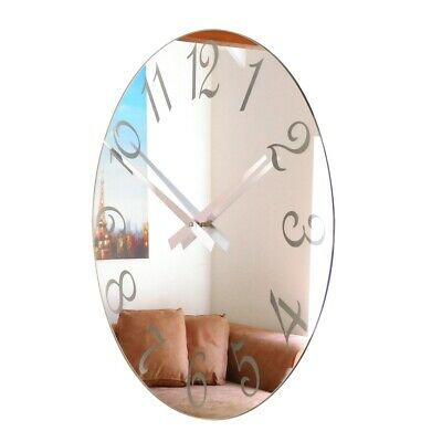 Roco Verre French Numbers Mirror Wall Clock Frosted in Four Sizes