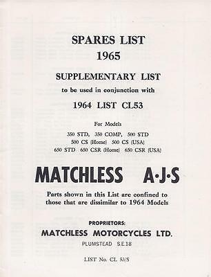 1965 AJS Matchless factory parts list SUPPLEMENT only,8 pages,original BRAND NEW