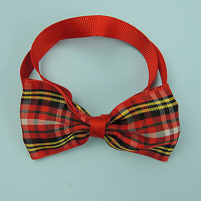 Dog Cat Pet Lovely Fashion Sweetie Red Plaid Grooming Bow Tie