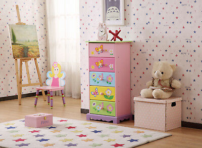 Wooden Hand Paint Flower Theme Kids Room 5 Drawer Tallboy Chest Storage Cabinet