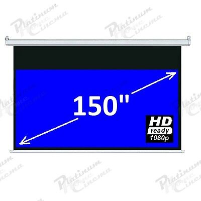 "New 150"" Electric HD Projection Screen projector home cinema 16:9 Matt White"