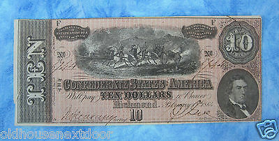 1864 Confederate States of America $10, p-45