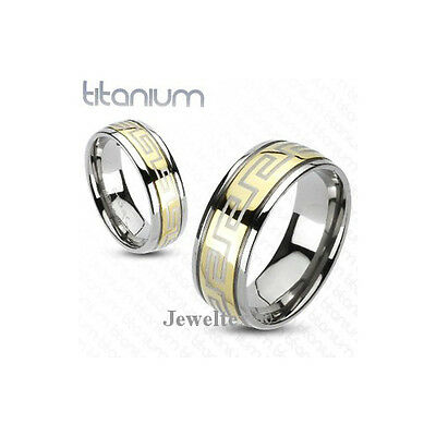 Solid Titanium 2-Tone Gold Finish 8mm Wide Grooved Band / Wedding Ring. HJ54M