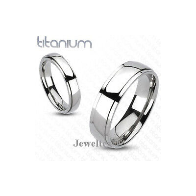 Solid Titanium Classic Beveled Band High 6mm Wide Ladies Wedding Ring. HJ_65MG