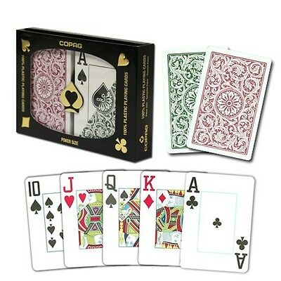 Copag Poker Size Jumbo Index 1546 Playing Cards (Green/Burgundy) New