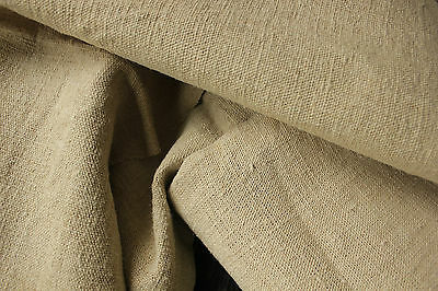 Antique HEMP linen sheets upholstery slipcover curtain fabric 2 MATCHING DARK