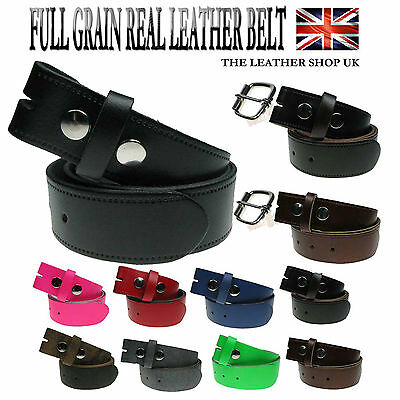 New Genuine Full Leather Press Stud Snap On Mens Leather Belt Made in the UK
