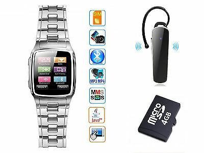 4GB Unlocked GSM Wrist Watch Cell Phone SIM Card Slot Camera Java with Earphone