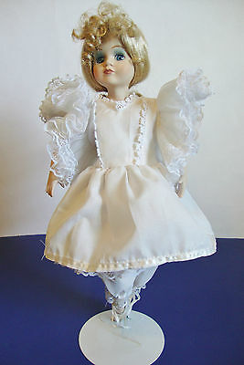 "Nice Porcelain and cloth Ballerina Doll with stand - 15"" tall"