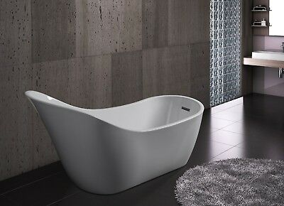 "68"" Modern Bathroom White Acrylic FreeStanding Luxury Soaking Shower Bathtub"