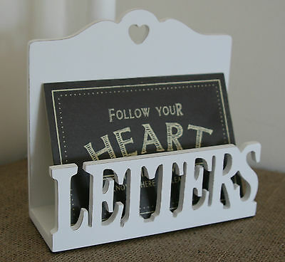 Vintage Chic Wood Letter Heart Rack Post Tray Desk Tidy Shabby White Hall Table