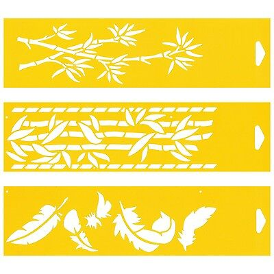 3 Stencils Cake Wall Airbrush Decorating Drawing Template Feathers Bamboo