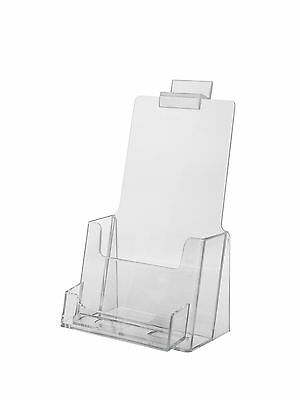 "4 1/2""w x 7 1/4""h Clear Acrylic Slatwall Tri-Fold Brochure Holder Business Card"