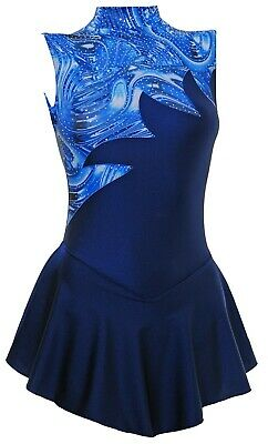 Skating Dress - NAVY LYCRA / MULTI BLUE HOLOGRAM N/S- ALL SIZES AVAILABLE 104a