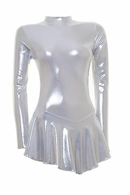 Skating Dress - SILVER SHEEN METALIC -  ALL SIZES AVAILABLE