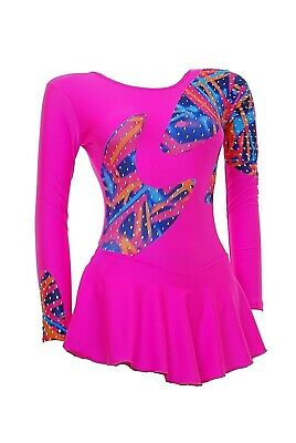 Skating Dress -TOFFEE PINK LYCRA / MULTI COLOUR HOLOGRAM LS- ALL SIZES AVAILABLE