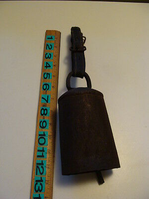 Large Antique Vintage Primitive Rustic Sheep or Cow Bell with Leather Strap