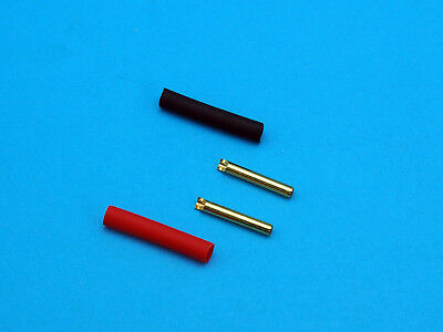 2mm Gold Plated Sockets for Test Probe Tips with Heat Shrink Tubing (Pair)